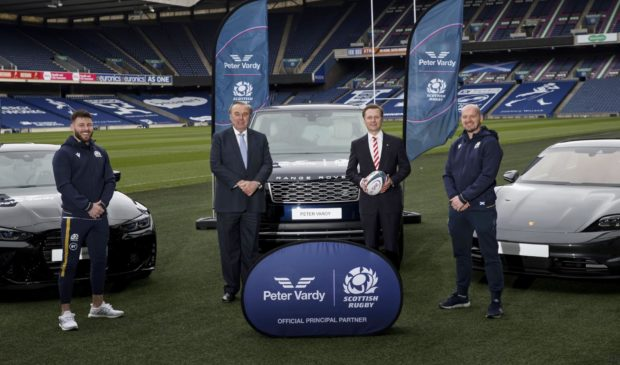 (L-R) Scotland player Ali Price, Peter Vardy Group Chairman, Sir Peter Vardy DL, Peter Vardy Group Chief Executive, Peter Vardy and Scotland Head Coach Gregor Townsend at the launch of the new deal.