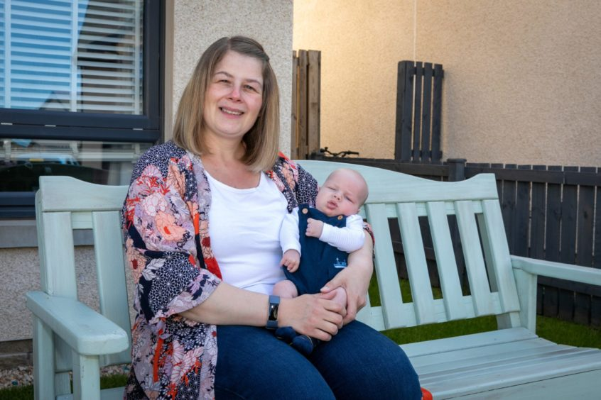 Heather Rothney with her 7-week-old son Patrick.