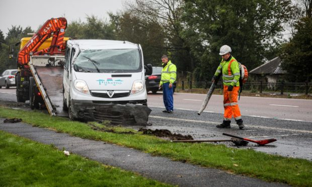 The aftermath of a crash on the A90 last year.