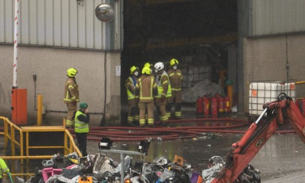 Firefighters at the Shore Recycling Centre.