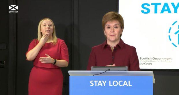 First Minister Nicola Sturgeon at coronavirus briefing