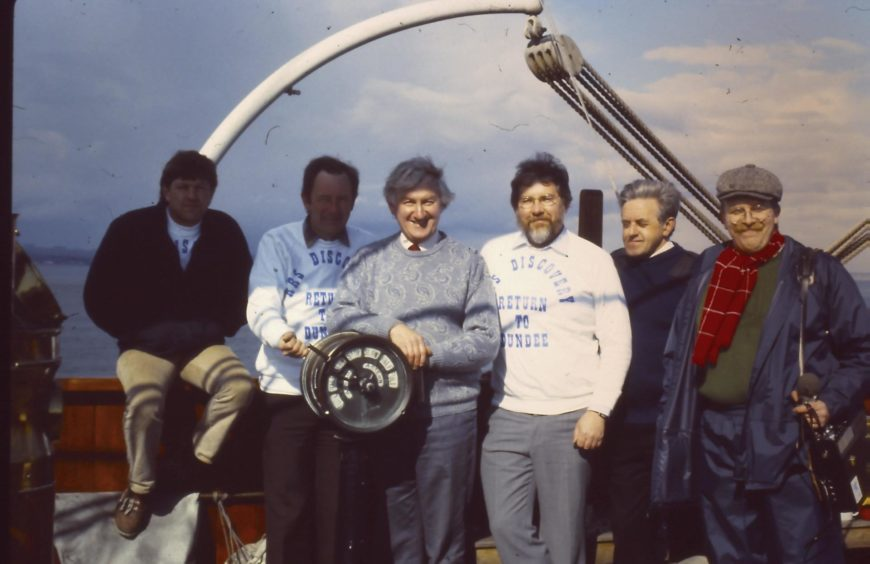 Jeff can be seen third from right alongside the rest of Discovery's final crew.