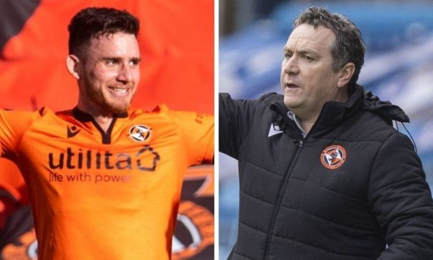 Dundee United winger Adrian Sporle and boss Micky Mellon.