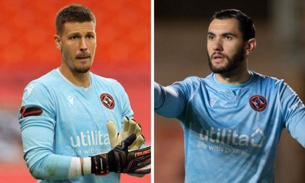Dundee United goalkeepers Benjamin Siegrist and Deniz Mehmet.