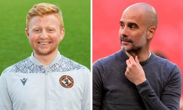 What would Manchester City manager Pep Guardiola (right) make of a global Dundee United feeder network Tangerines football operations manager Ross Starke says the club are exploring?
