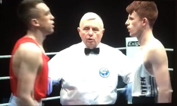 Joe boxing a televised bout on the BBC in 2019, between Mathew McHale and Steven Boyle in the Scottish Elite Finals.