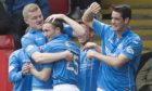 The St Johnstone players celebrate a Chris Kane goal that took them into Europe in 2015.