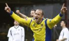 Paul Sheerin celebrates a goal in the Challenge Cup final.
