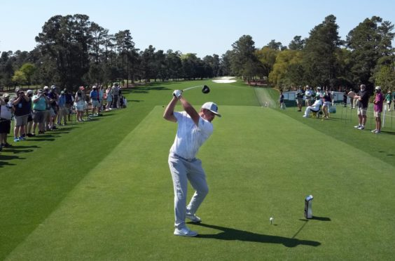 Bryson DeChambeau launches one off the first at Augusta.