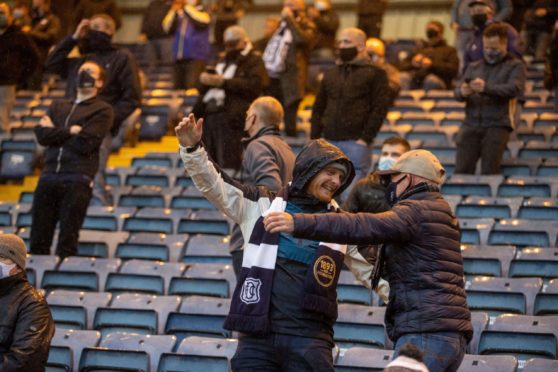 Fans were back at Dens Park for the play-off final.