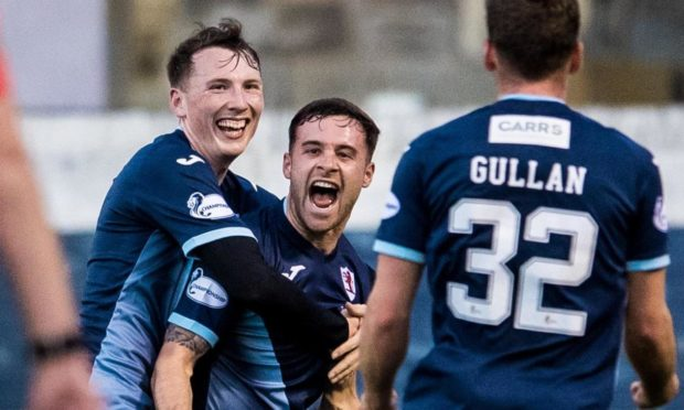 Lewis Vaughan celebrates one of five Rovers goals against Dunfermline