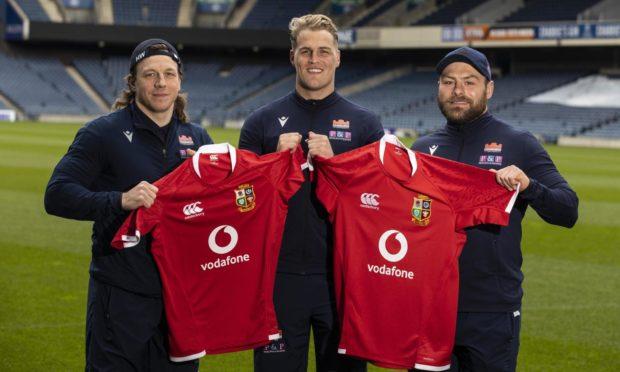 Hamish Watson, Duhan van der Merwe and Rory Sutherland of Edinburgh and the Lions.