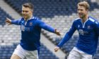 Glenn Middleton celebrates his goal with David Wotherspoon.