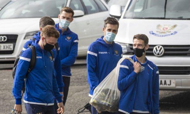 St Johnstone's players arrive at Celtic Park.