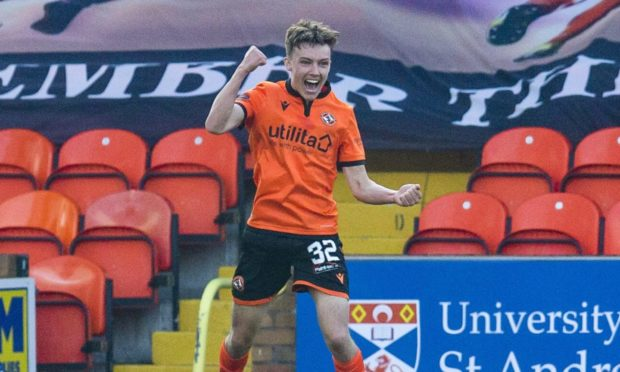 Dundee United youngster Archie Meekison celebrates his goal against Motherwell.