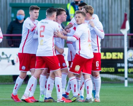 Brechin players celebrate Jonathan Page's strike during the 2-1 loss to Kelty