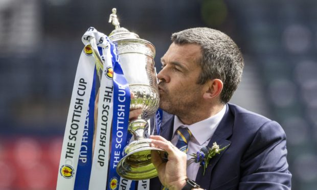 St Johnstone's history-making manager Callum Davidson with the Scottish Cup.