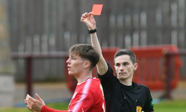 Chris McKee was shown a straight red card as Brechin lost to Kelty Hearts in the SPFL pyramid play-off.