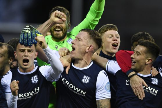 Dundee clinched promotion to the Scottish Premiership after kicking off their pre-season at Montrose