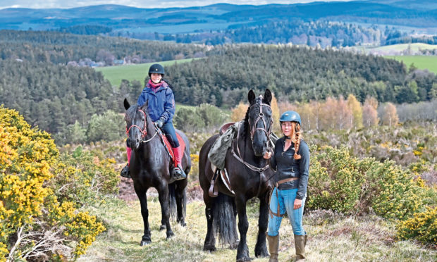 Gayle Ritchie goes for a trek with Highlands Unbridled, a new trail riding and trekking centre near Aboyne. The picture shows Gayle on her horse Brooke and Dominique Mills on Breagha heading into the hills.