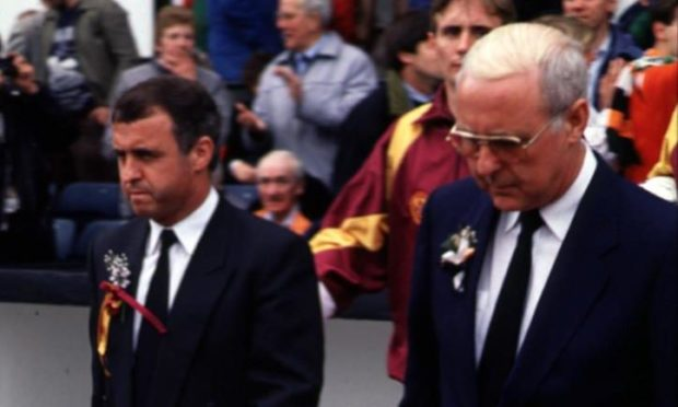 Brothers Tommy and Jim McLean lead their sides out for the 1991 Scottish Cup Final between Dundee United and Motherwell.
