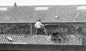 Mone on the roof of Perth prison back in May 1981 when he staged a protest against the conditions.