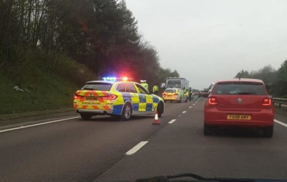 Police set up a partial closure of the eastbound carriageway of the A92.