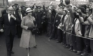 The Queen is greeted by workers during the official opening of Sullom Voe in the Shetlands in 1981.