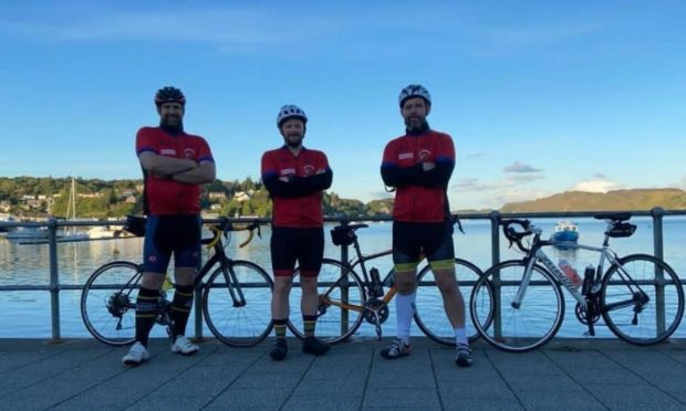 Sandy Gray, David Gray and Stewart Millar ready to set off from Oban.