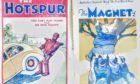Rab's Hotspur from 1948 featuring cricketer Willie Wallop,  and a Magnet from 1930, showing  Billy Bunter being pushed up a tree.