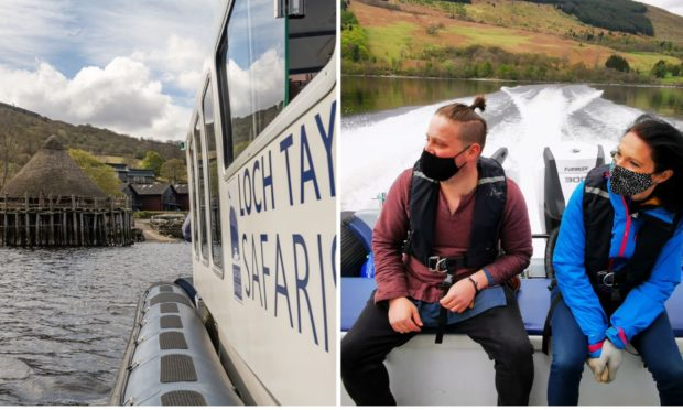 Gayle enjoys a crannog cruise on Loch Tay with guide Rich Hiden.