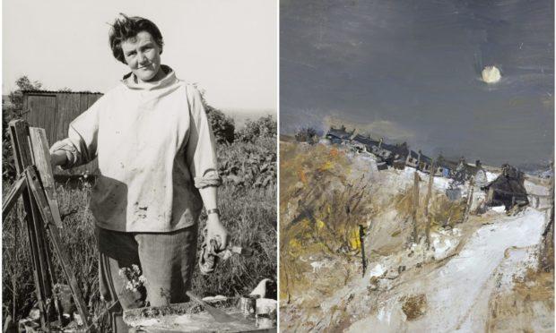 Artist Joan Eardley and her painting Catterline in Winter, 1963.