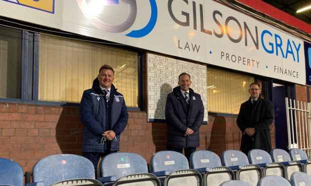 Jonny McInally, commercial manager, Dundee FC; Lindsay Darroch, Partner and Head of Dundee Office, Gilson Gray and Dark Blues MD John Nelms.
