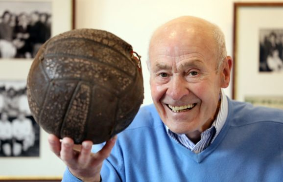 Tommy Will with the match ball from the 1959/60 Scottish Junior  Cup Final