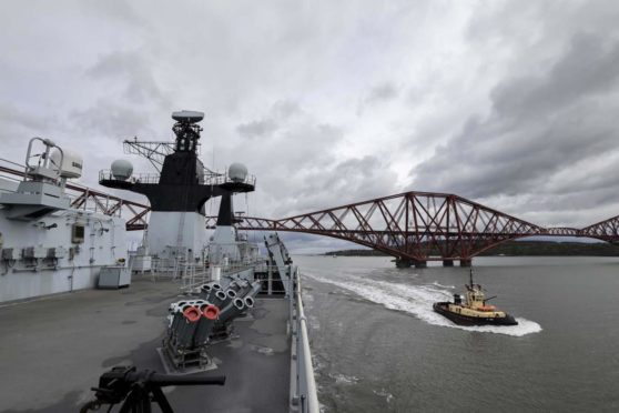 HMS Albion in the Firth of Forth