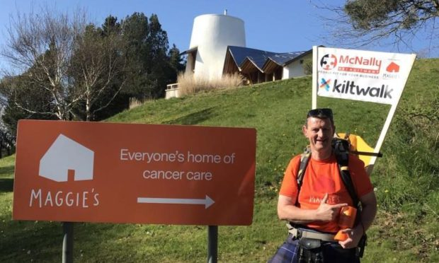 Steve McNally completed a Kiltwalk to raise money for Maggie's. Steve McNally/ Supplied.