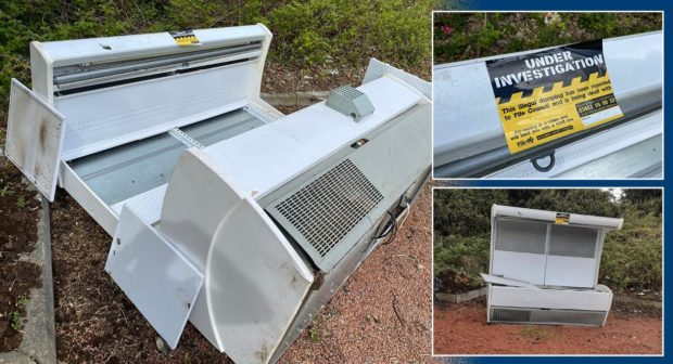 Commercial fridge was dumped just yards from graves.