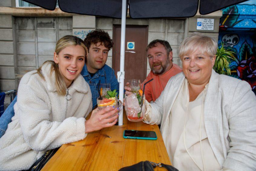 From left: Emily Mathieson, celebrating her 26th birthday; Paul Bray, Tony and Elaine Bray (Elaine celebrating her 50th birthday) out cat The Bird & Bear in Dundee.