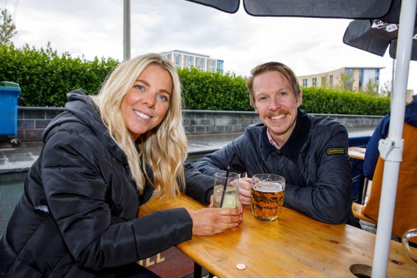 Emma and Gary Kettles enjoying a drink at The Bird and Bear.