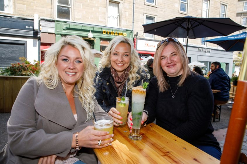 Friends Dani Mitchell Vicki Simpson-Price and Dee Hanlon out enjoying a drink in the Union Street beer garden.