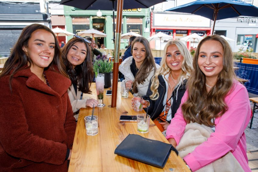 From left: nurses Ciara Hugh, Hannah McKie, Sarah Hourdigan, Olivia Lindsay and Roisin Moloney all out enjoying a well deserved drink on their day off in the Union Street beer garden.