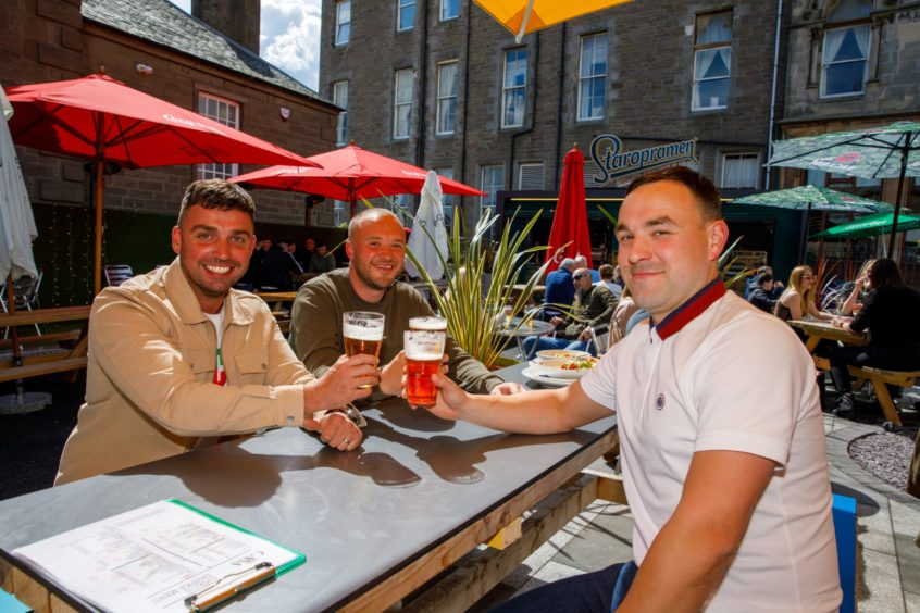 From left: Friend Sean Vials, Brian Juckiewicz and Stefan Litzbarski out enjoying a drink at The Casa on Perth Road.