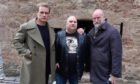 Sam Heughan, Lenny Low and Graham McTavish on set in Crail
