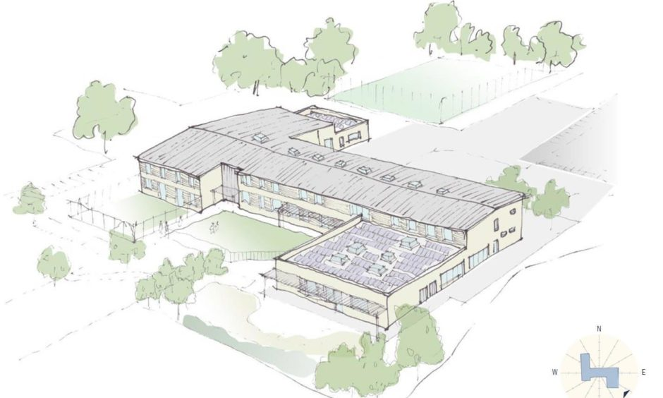 To go with story by Jamie Buchan. Images show how new North Muirton Primary could look. Including map showing where it is going to be built. Picture shows; New North Muirton Primary School. Artists Impression. Supplied by Perth and Kinross Council Date; Unknown