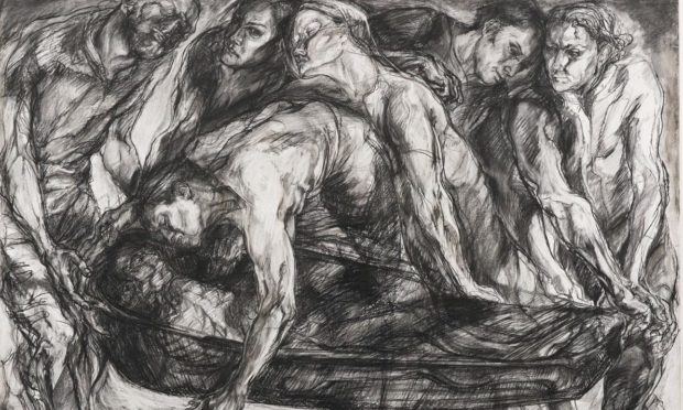 Beth L Fisher RSA Burial II conte and charcoal on paper, 2006.