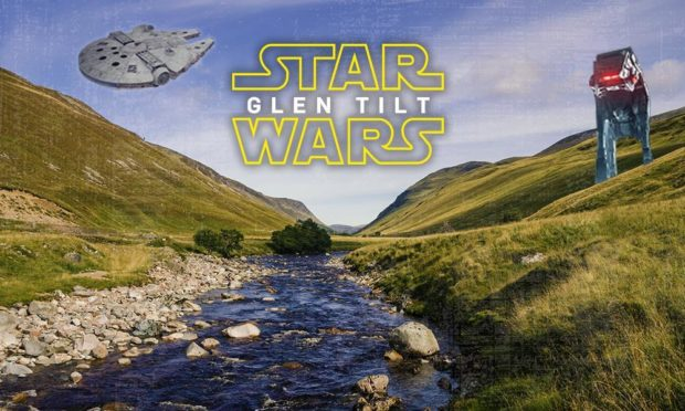 Star Wars logo and graphics superimposed over Glen Tilt in Perthshire