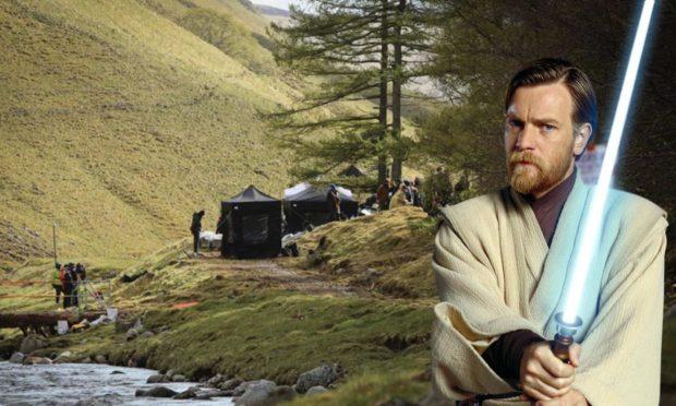 Major production activity is taking place in Perthshire countryside (inset: Ewan McGregor as Obi-Wan Kenobi).