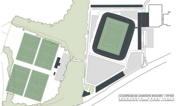 Dundee's proposed stadium plans at Camperdown Park.
