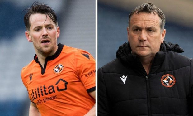 Dundee United striker Marc McNulty and boss Micky Mellon.