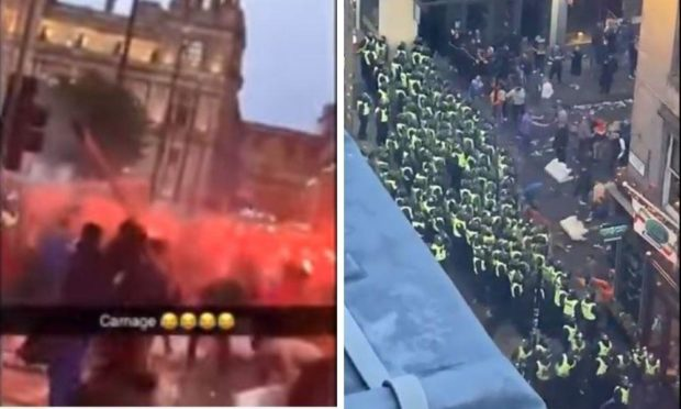 Police on duty as Rangers fans riot.